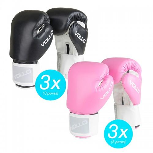 Kit c/6 Luvas Boxe Vollo Preta / Rosa Promocional
