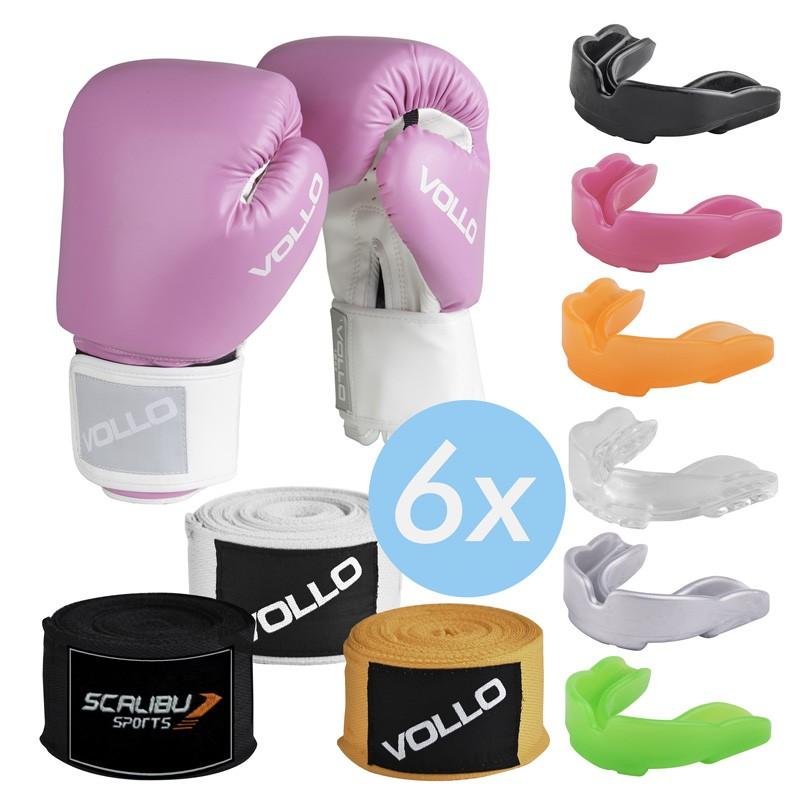 Kit c/6 Luvas Boxe Vollo Rosa, 6 Bandagens e 6 Protetores Bucais Promocionas