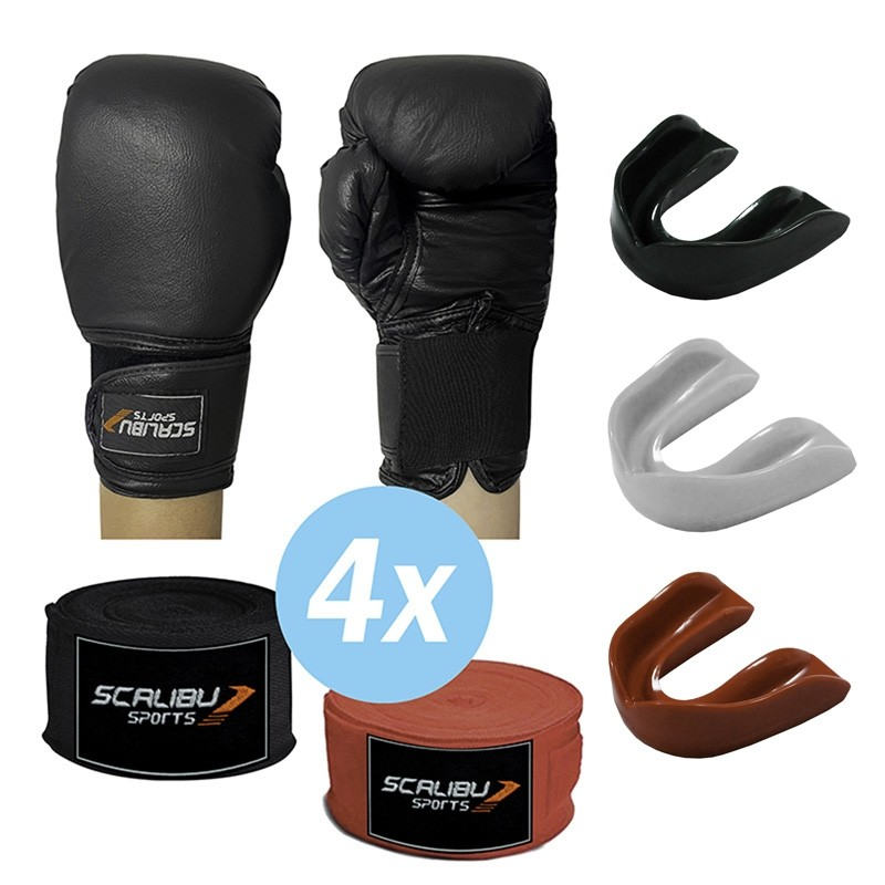 Kit c/4 Luvas Boxe Preto, 4 Bandagens e 4 Protetores Bucais Promocionais