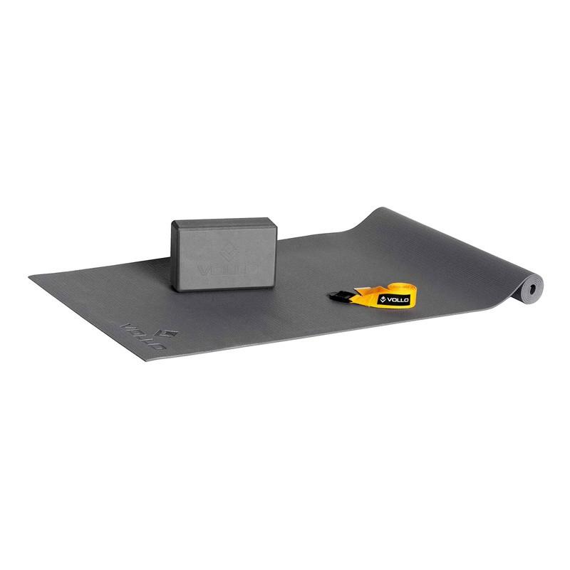Kit Yoga c/Tapete Fita e Bloco