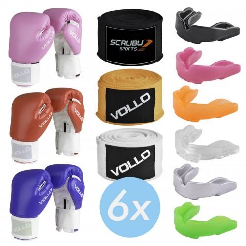 Kit c/6 Luvas Boxe Vollo Azul/Vermelho/Rosa, 6 Bandagens e 6 Protetores Bucais Promocionais