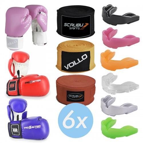Kit c/6 Luvas Boxe Azul/Vermelho/Rosa, 6 Bandagens e 6 Protetores Bucais Promocionais