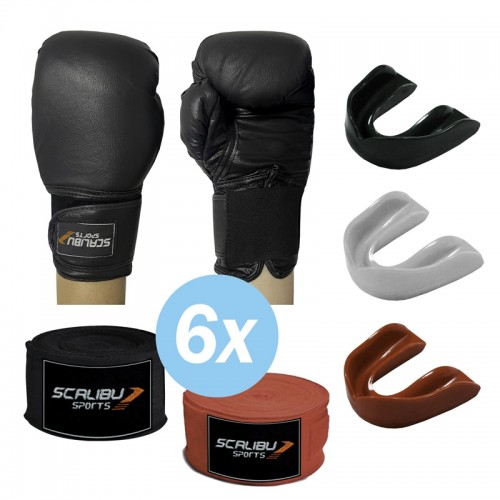 Kit c/6 Luvas Boxe Preto, 6 Bandagens e 6 Protetores Bucais Promocionais