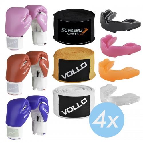 Kit c/4 Luvas Boxe Vollo Rosa/Azul/Vermelho, 4 Bandagens e 4 Protetores Bucais Promocionais