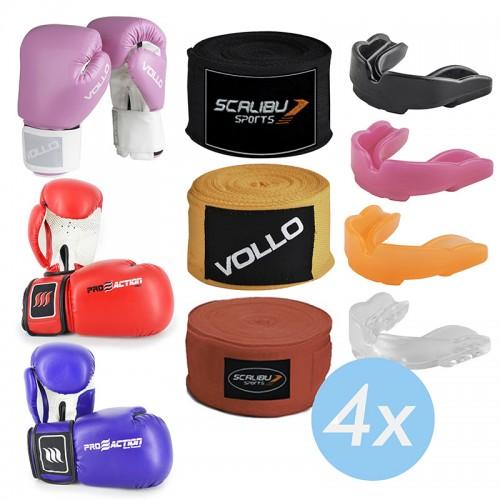 Kit c/4 Luvas Boxe Rosa/Azul/Vermelho, 4 Bandagens e 4 Protetores Bucais Promocionais