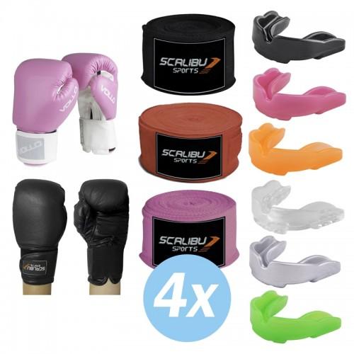 Kit c/4 Luvas Boxe Preto/Rosa, 4 Bandagens e 4 Protetores Bucais Promocionais