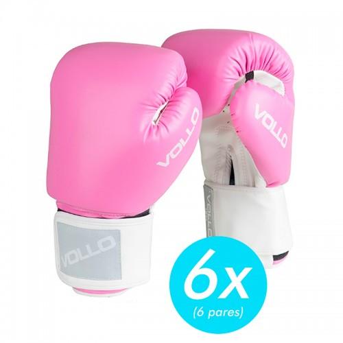 Kit c/6 Luvas Boxe Vollo Rosa Promocionais