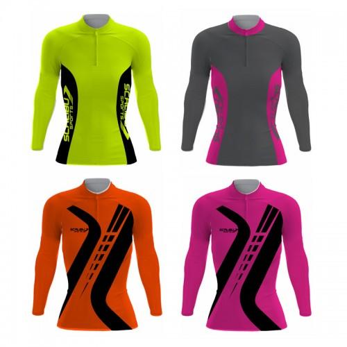 Kit c/10 Camisas Bike Feminina Sprint Scalibu Manga Longa Drytech